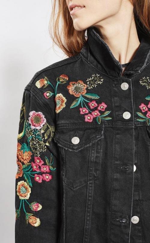 I'm looking for a similar black embroidered denim jacket - SeenIt