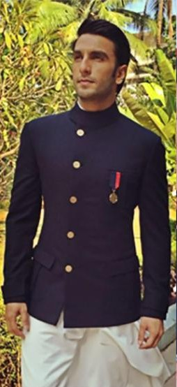 Looking for a similar navy blue bandh gala as the one Ranveer Singh is wearing - SeenIt