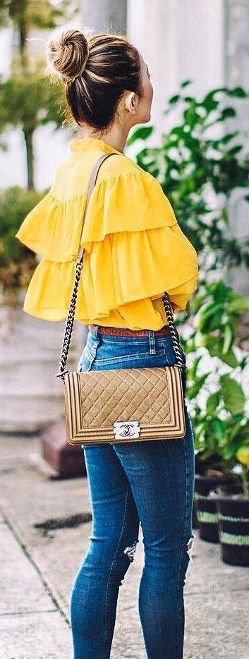 looking for similar yellow rufflle top as seen on her,help? - SeenIt