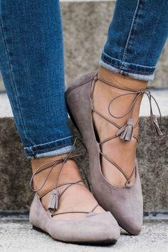 Please find me similar grey laceup ballerinas - SeenIt
