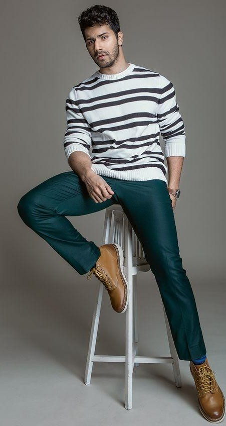 Looking for Varun Dhawan's striped sweatshirt, emerald green trousers and brown shoes - SeenIt