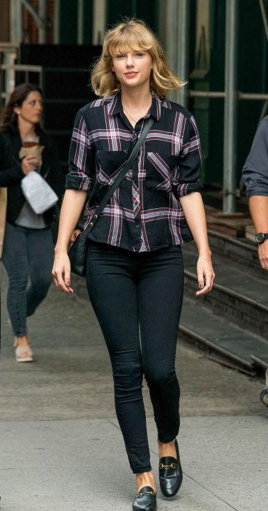 Looking for a similar black checked shirt, black jeans and loafers as seen on taylor swift. - SeenIt