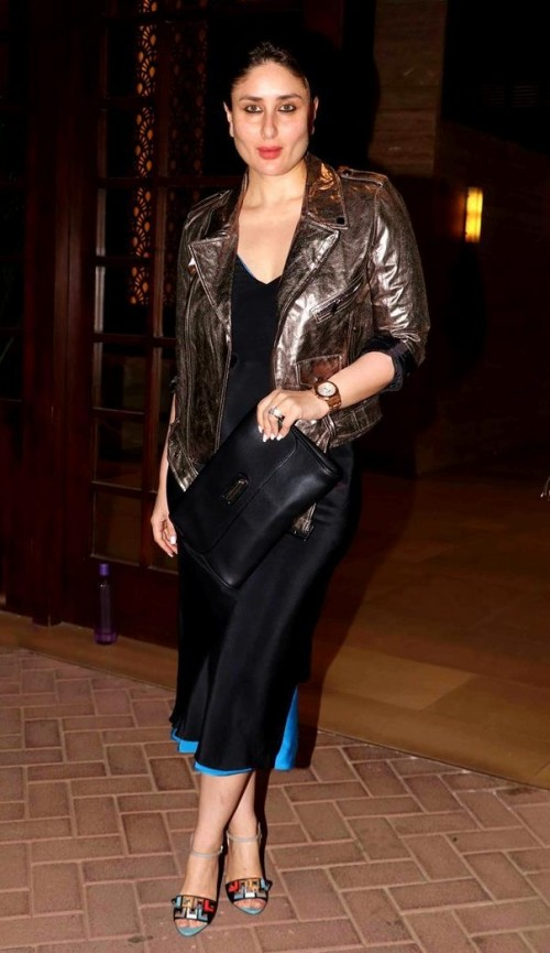 hi i need the complete kareena kapoor outfit with the metallic jacket, black dress, black clutch and the shoes - SeenIt
