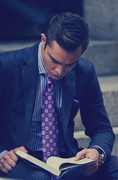 Looking for ed westwick's pink and purple checkered tie - SeenIt