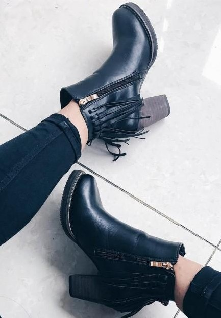 I'm looking for black fringed ankle boots like these. - SeenIt