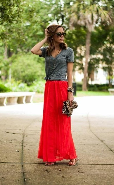 Want the Grey tee, red maxi skirt ,sunglasses , sandals and the animal print clutch. - SeenIt