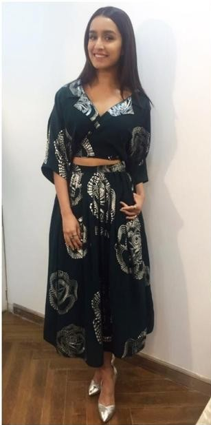 Looking for a similar green printed separates...crop top and midi skirt that Shraddha Kapoor is wearing. - SeenIt