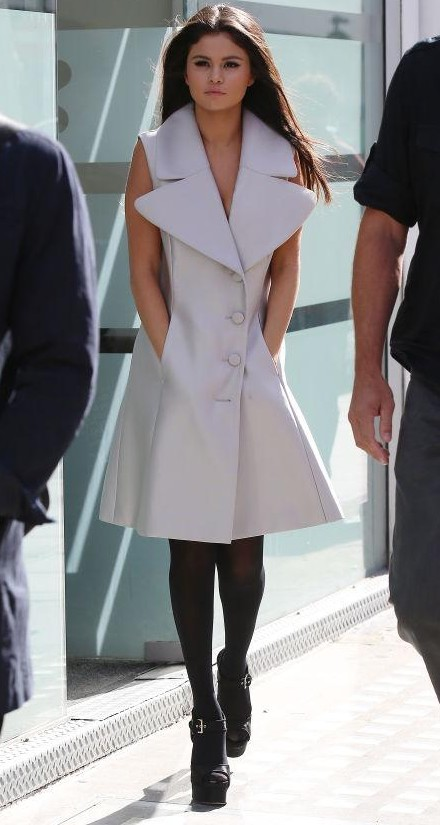 Looking for a similar coat like Selena Gomez is wearing. Specially a one with prominent collars. Indian  sites with be better. :D - SeenIt