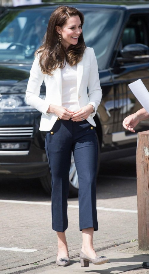 Want the white jacket , the white shirt, navy trousers and the heels which Kate Middleton is wearing - SeenIt