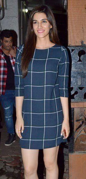 Looking for Kirti Sanon's navy blue check pattern dress to recreate this casual look - SeenIt