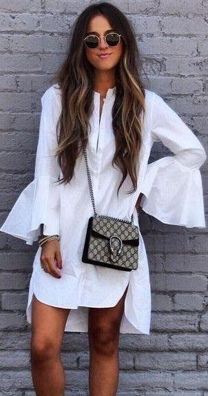 Looking for a white tunic shirt dress with bell sleeves and a brown checkered cross body bag - SeenIt