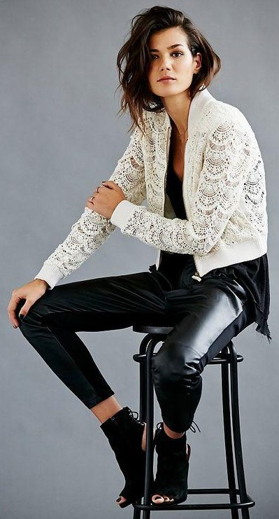 Help me find a similar white lace jacket and leather pants.. - SeenIt