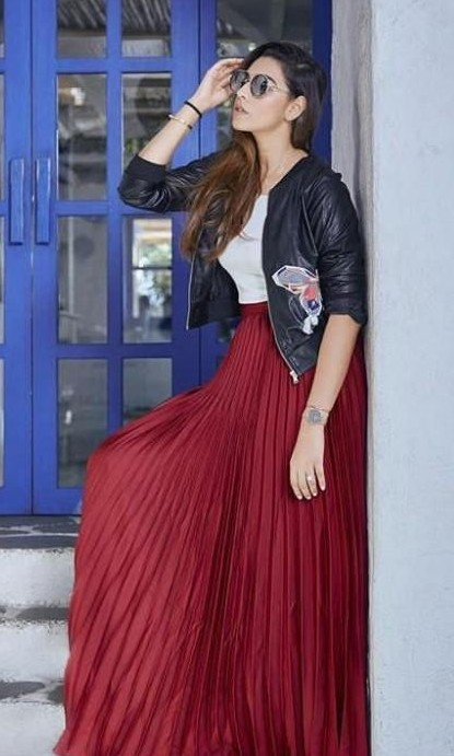 Looking for a maroon pleated maxi skirt, white top amd black leather patched jacket similar to the ones houseofmisu is wearing in this picture - SeenIt