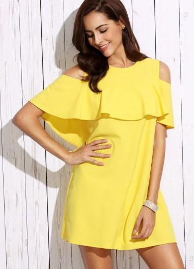 Looking for a similar cold shoulder ruffled sleeve yellow dress. - SeenIt