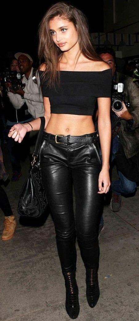 Looking for Taylor Hill's black off shoulder crop top, black leather pants - SeenIt
