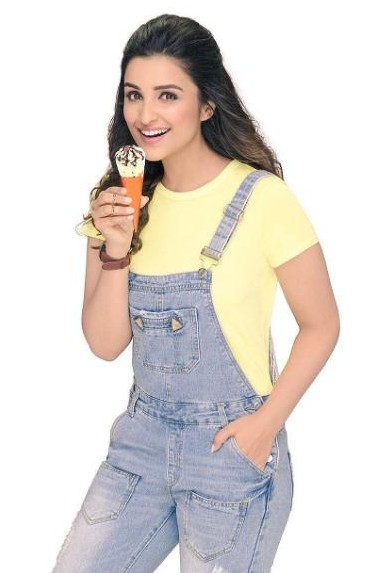 Looking for a similar yellow round neck t shirt and blue denim dungaree that Parineeti Chopra is wearing. - SeenIt