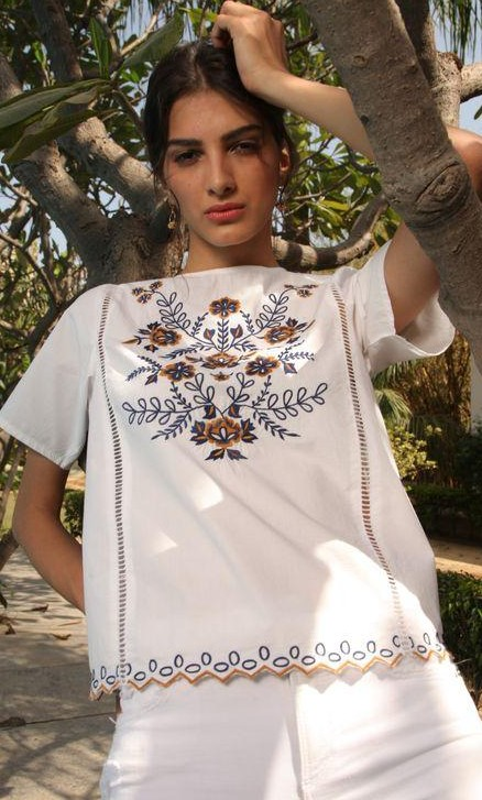 Need this white embroidered boxy fit top. - SeenIt