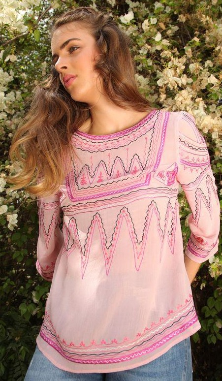 Can you help me find this exact pink embroidered top? - SeenIt