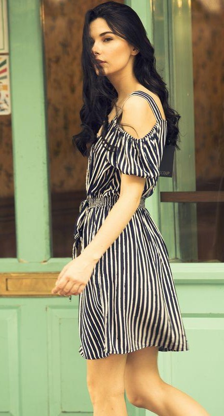 Any idea where to find this navy blue and white striped cold shoulder dress? - SeenIt