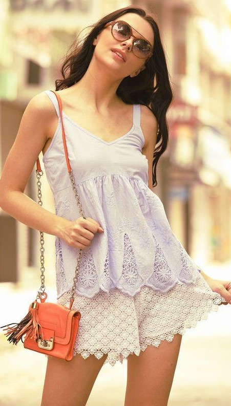 Perfect for this summer!! Blue cutwork embroidered top and white lace shorts... - SeenIt