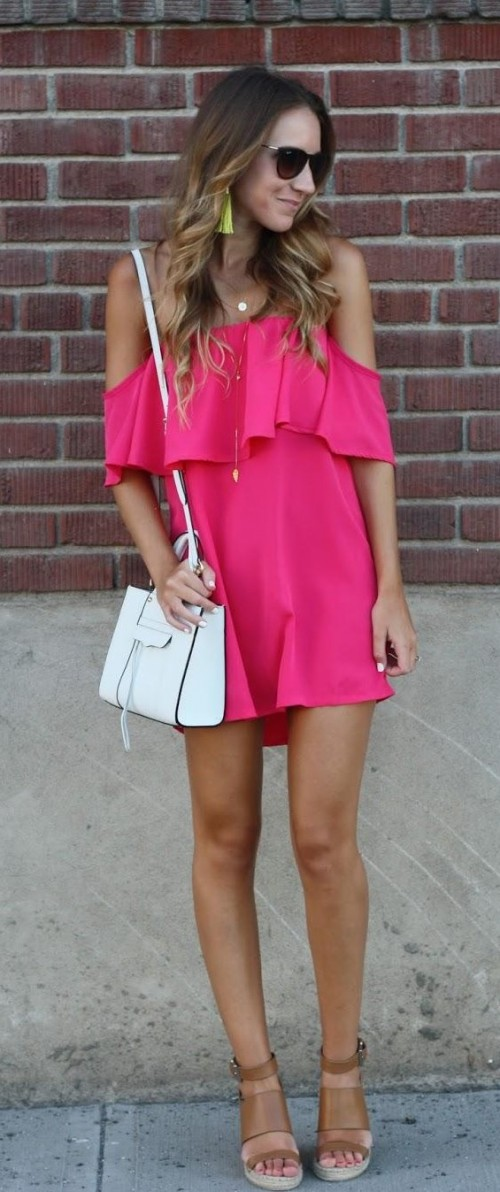 Looking for a similar fuchsia off shoulder ruffled dress. - SeenIt