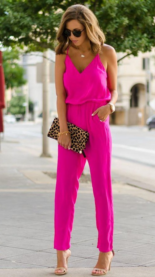 Looking for a similar fuchsia jumpsuit as seen on her. - SeenIt