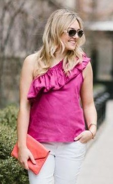 Looking for a similar fuchsia one shoulder ruffled top,where can i get one? - SeenIt