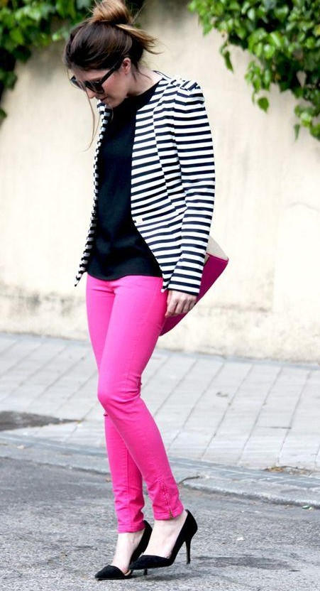 Looking for a similar fuchsia pants, black and white striped jacket, top along with stiletto pumps as seen on her. - SeenIt