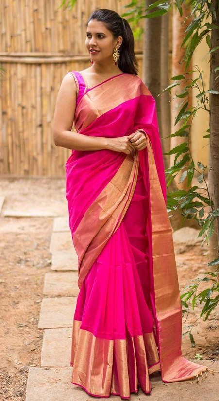 Where can I get a similar fuchsia saree with golden border? - SeenIt