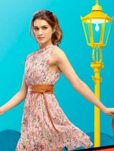 Looking for a similar floral print dress with the brown belt that Kriti Sanon is wearing. - SeenIt
