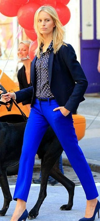 Looking for a similar cobalt blue pant navy blue polka dot shirt with the blazer as seen on her. - SeenIt