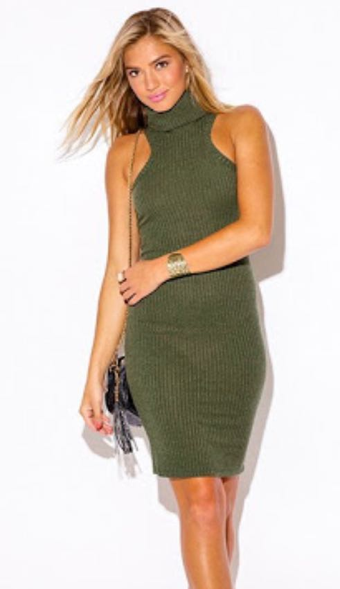 Where can I fined a similar Ribbed turtle neck green dress? - SeenIt