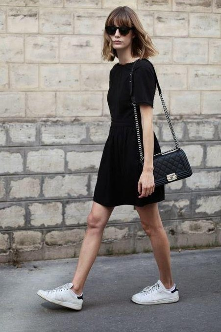 Looking for a similar black dress with white canvas shoes and a black sling - SeenIt