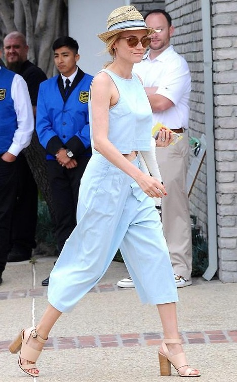 I am looking for a similar pastel blue culottes and crop top as seen on Diane Kruger - SeenIt
