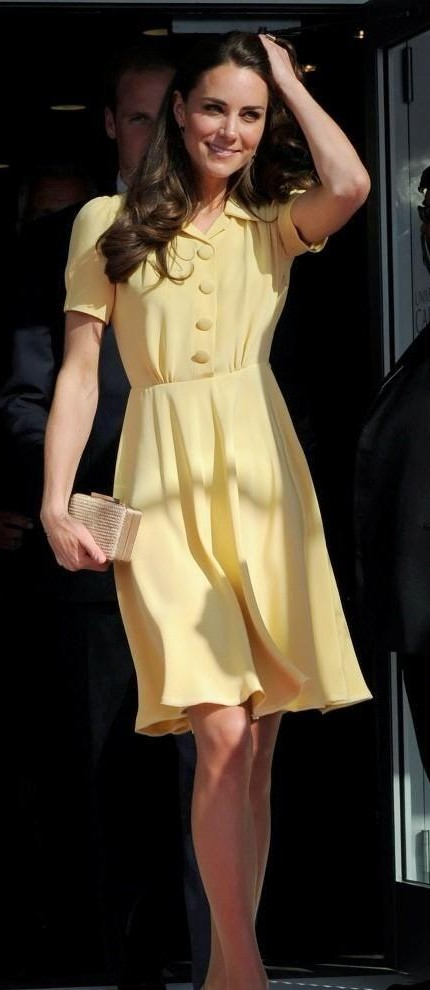 Looking for a pastel yellow flare dress as seen on kate middleton,please help? - SeenIt