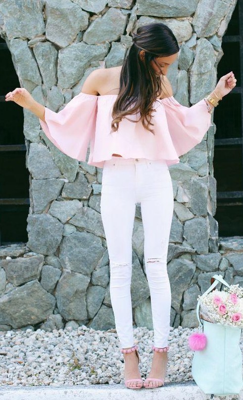 133107e5d88 Looking for a similar pastel pink off shoulder top and white ripped jeans