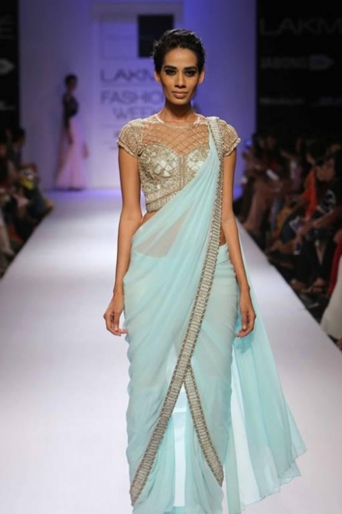 Want a similar pastel blue saree with embroidery as seen in lakme fashion week. - SeenIt