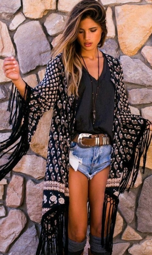 Looking for a similar black printed long shrug with fringes!! - SeenIt