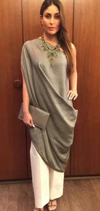 Want this grey draped one shoulder tunic and the white pants which Kareena Kapoor is wearing - SeenIt