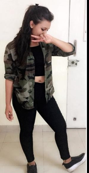 Please please help me find this same military jacket with a black crop top and black capri worn by aashika bhatia - SeenIt