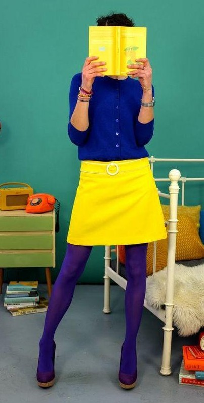 Find me a similar yellow mini skirt and blue shirt along with the blue stockings. - SeenIt