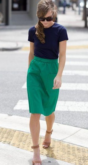 Help me find a navy blue top and green midi pencil skirt. - SeenIt