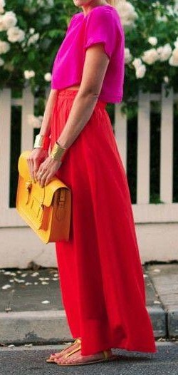 A similar fuchsia top and red maxi skirt please!! - SeenIt