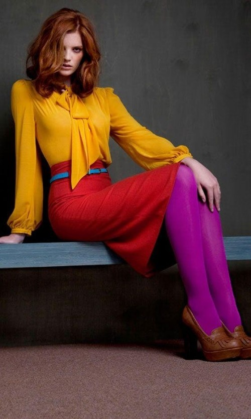 Looking for a similar mustard yellow front tie top, red pencil skirt, blue belt and purple stockings online. - SeenIt