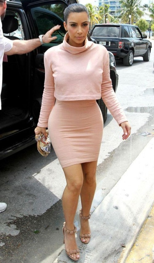 Help me find a similar baby pink crop top and and bodycon skirt as Kim Kardashian is wearing - SeenIt