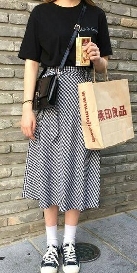 Looking for the black tshirt and gingham print midi flared skrit. - SeenIt