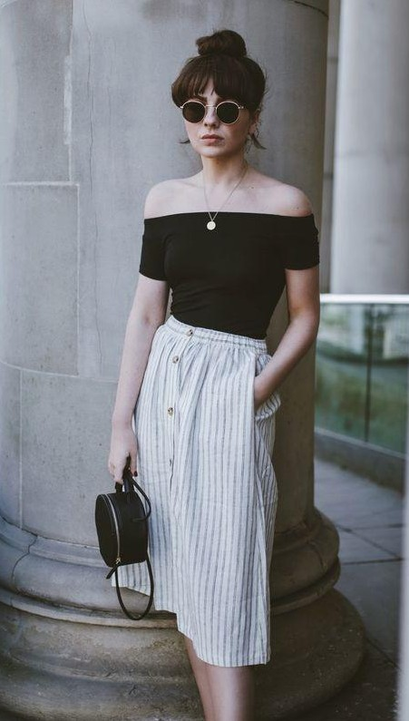 Searching for a black off shoulder top, striped midi skirt, round sling bag and sunglasses. - SeenIt