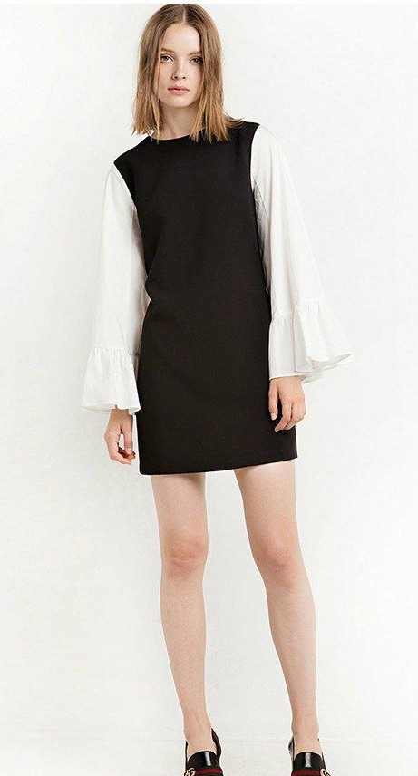 Find me this black and white bell sleeve retro dress. - SeenIt