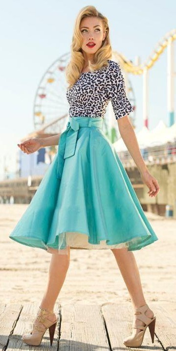 Help me find a similar leopard print top and blue flared knee length skirt - SeenIt