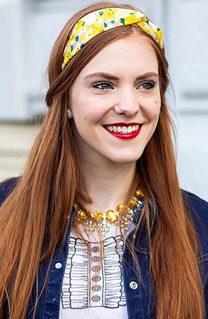 Help me find a similar yellow printed headscarf - SeenIt